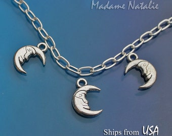 Moon Charms (8), Tibetan Silver Crescent Moon Charms, Antique Silver Small Moon Pendant, Moon Charm Bracelet, Celestial Charms, Silver Moon