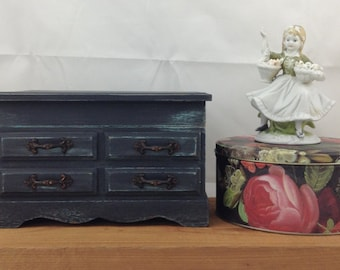 Upcycled Jewelry Box Vintage Music Box Vintage Jewelry Box Chalk Painted Jewelry Box Vintage Trinket Box
