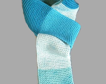 Knitted Blue striped scarf,women's scarf,winter scarf,fringe scarf, handmade neckwarmer,gift for her