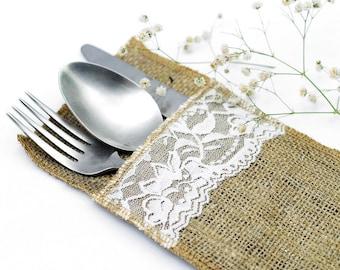 Lace Hessian/Burlap Cutlery Holders