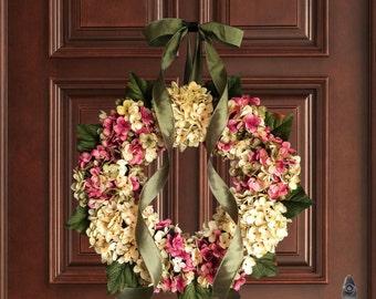Artisan Wreaths | Hand Blended Hydrangea Wreath | Spring Wreath | Front Door Wreaths | Shabby Chic Decor