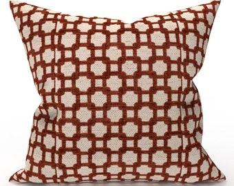 DECORATIVE THROW PILLOW Cover - Burgundy Cream Geometric Chenille Pillow - Geometric Throw Pillow, Designer Pillow, Home Decor