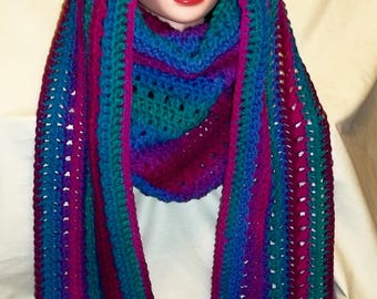 Two-in-One Crochet Cowl & Hooded Pocket Scarf (#84)
