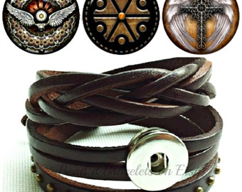 Dark Brown leather snap bracelet wraps plus 3 snaps- will fit Noosa Chunks or Gingersnap Charms with Angel Wing snap charms.