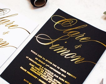 Wedding Invitation, Gold Foil Wedding Invitation, Black and Gold Wedding invitation,Script Wedding invitation,Calligraphy Wedding invitation