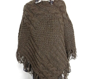 Knitted poncho knit Poncho Cape Wool