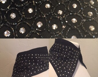 1930s Collar Black with Sequins snap at neck