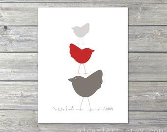 Nursery Birds Wall Art Print Three Birds in Red Nursery Art Print - Baby Girl Art Gift