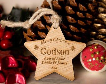 Personalised Godson Wooden Star - Godson Presents, Godson Gift Ideas, Godchild Gifts, Wooden Star, Hanging Star, Wooden Christmas Star.