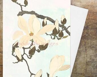 Birthday Card, Greeting Card, Wedding Card,Personalised card, Artist's card, Custom card, Handmade Card, art, Blank card ,'Magnolia Bloom'