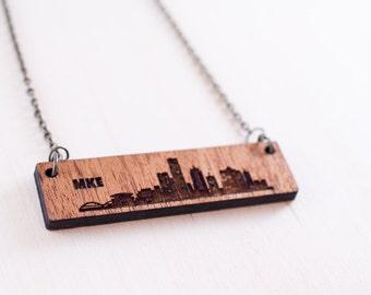 Milwaukee Skyline Wood Etch Necklace  | Milwaukee Skyline Gifts | Skyline Silhouette | Milwaukee, WI  | wood jewelry | Gifts under 30