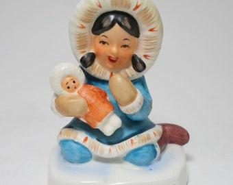 Vintage Signed Kelvin Eskimo Girl and Doll Figurine, Kelvin C-311 Eskimo Girl, Kelvin Eskimo Girl Figurine, Kelvin Ceramic Eskimo Girl C-311