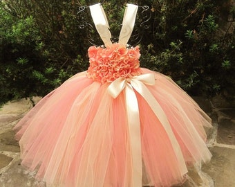 CORAL IVORY FLOWERS - Tutu Dress - Flower Girl Gown - Baptism Dress - Pageant Baby Outfit - Birthday Girl Gown - Coral Tutu Dress -