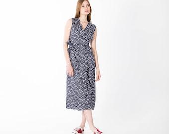 Wrap dress midi with belt inner pockets on the sides and short sleeves Handmade Eco Street Fashion SVETARKIN