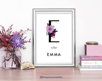Emma 5x7 Print Customized Art Girls Room Art Unique Wedding Favor 8x10 Print Floral Name Art Hand Lettering Kids Printables 4x6 Print