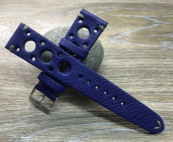 Leather watch band, Rally Watch band, Leather watch strap, blue watch band, Racing watch band, watch strap, 20mm lug, FREE SHIPPING