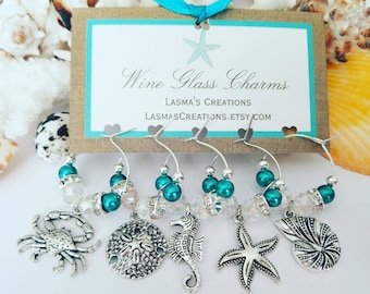 Wine Charms, Beach Wine Charms, Unique Wine Gift, Wine Glass Charms, Beach Gift, Wine Lover Gift, Wine Gifts for Women, LasmasCreations