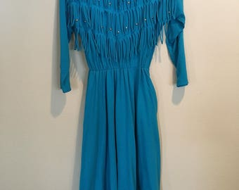 Sassa Turquoise Country Western Tassel Dress