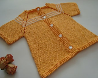 Hand knitted baby sweater cardigan jacket, Knitted baby clothes, Gift for newborn, Sunny Yellow summer baby clothes