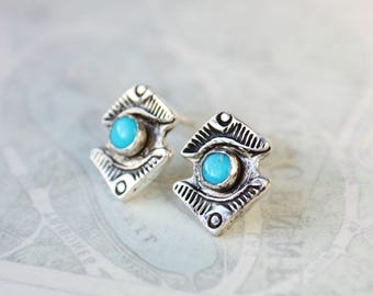 Turquoise earrings, sterling silver studs, stamped silver jewelry, southwestern light blue stone earrings,