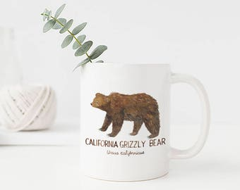 California Grizzly Bear Mug / Ceramic Mug / California Mug / Grizzly Bear Mug / Forest Mug / Bear Mug / Bear Gifts / Grizzly Bear