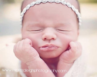 Karis - Halo Headband Crown - Crystal Rhinestones Beads - Silver - Newborn Girls Adult Prop - Wedding Baptism
