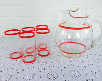 MacBeth Evans Red Ring Pitcher and Matching Glasses