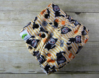 Trick or Treat Cats OS Ai2 w/ Bamboo Insert Cloth Diaper All in Two