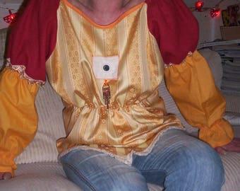 """blouse bodice style medieval gold/orange tones, """"donkey skin"""""""