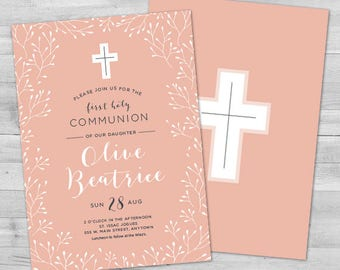 First Communion Invitation Girl, Communion Invitations Girl, First Holy Communion Invitations, Communion Invitations Girl, 1st Communion