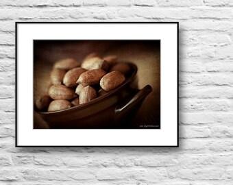 Kitchen art, food fine art photography, pecan nuts photo print, still life fine art photography, vintage wall decor print, brown wall art