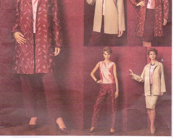 Womens Jacket in 2 Lengths, Top, Skirt & Pants OOP Vogue Sewing Pattern 2706 Size 8 10 12 Bust 31 1/2 to 34 UnCut Vogue Five Easy Pieces