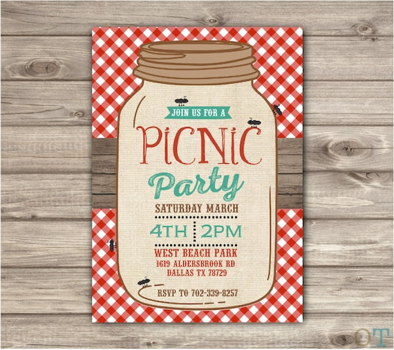 Picnic Park Party Mason Jar Beach Bbq Family Reunion Birthday