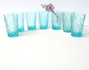 Mid Century Modern Barware - 7 Anchor Hocking Lido Turquoise Juice Glasses - Aqua Lido Glass - Cocktail Glasses - Juice Glasses -