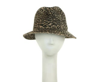 Animal Print Fedora Hat for Women, Felt Hat, Womens Winter Hat, Ladies Fedora, Ladies Hat, Womens Hat, Leopard Print Hat, Millinery Hat OOAK