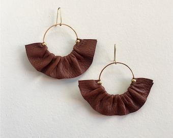 Leather fan earrings, Statement earrings in leather, Fan earrings, Statement hoop earrings, Boho fan earrings