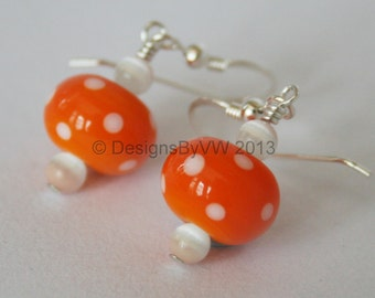 Orange Spotty Lampwork Glass Earrings