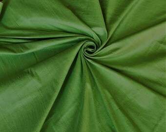 "Unique Green 100% dupioni silk fabric yardage By the Yard 45"" wide"