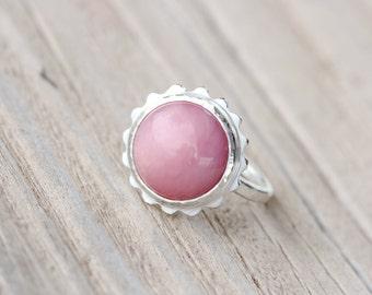 Modern Pink Opal Flower Silver Ring Peruvian Blush Rose Color Gemstone Hammered Texture Feminine Boho Gift Idea October Birthstone - Cosmea