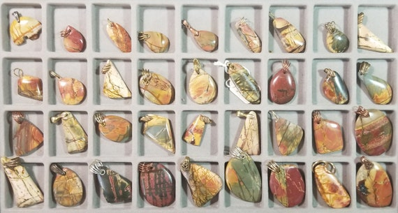 Cherry Creek Jasper, 36 pendants, various bails red tan beige green
