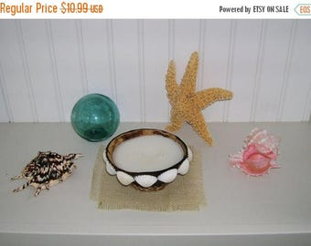 On Sale Coconut Shell Candle Embellished With White Ark Shells