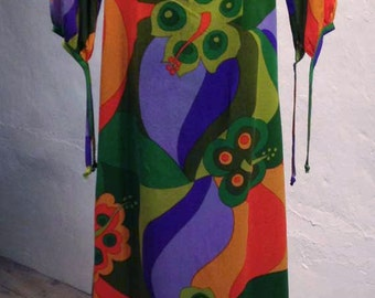 1960s Vintage Hawaiian Peter Max Psychedelic Mod Floral Print Sheath Dress with Train S