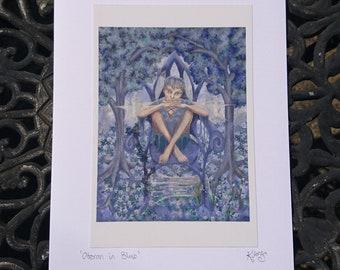 Oberon Fairy card - A Midsummer Night's Dream, male fae, blue, man faery, boy faerie, greetings card, blank, fairy king, wood, enchanted