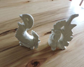 Vintage Salt and Pepper Shakers, Mid-Century Rooster Salt and Pepper Shakers, Ceramic Rooster Salt and Pepper Shakers