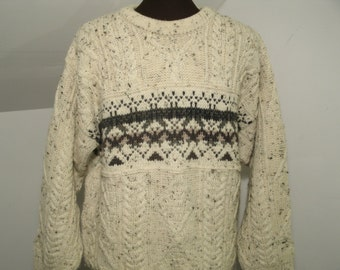 LL Bean Irish Wool Cable Knit Pullover Sweater Nordic Design Pattern Oatmeal Off White Gray Tan Fishermans Mens Size S Small Made In Ireland