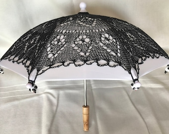 Panda Parasol, Black Lace Parasol, Lace Parasol, Cosplay Parasol, Prop, Black, Lace, Fashion Accessory, (Small), Handmade, Wedding Accessory