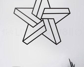Escher Decal Wall Sticker, Optical Illusion Wall Art, Removable Geometric Vinyl Decoration, Star Home Decor, Australian Made