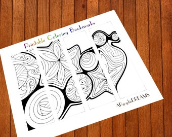 Printable coloring bookmarks. Instant download coloring bookmark. Coloring page for adult and children