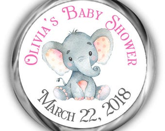 Elephant Baby Shower Hershey Kisses Stickers - Personalized Elephant Baby Shower Sticker