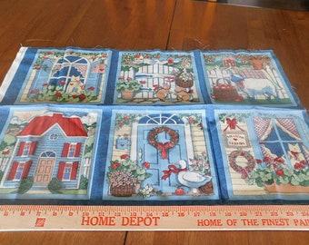 Destash- Vintage House Themed Cotton Fabric Panels (A-058)